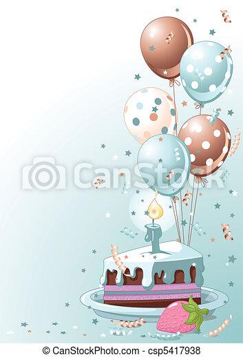 Un trozo de pastel de cumpleaños con globo - csp5417938