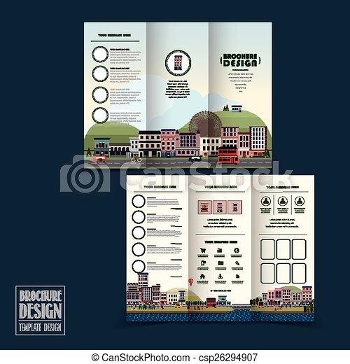 Una adorable plantilla de folletos de la ciudad - csp26294907