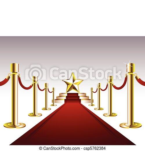 Una alfombra roja con una estrella dorada - csp5762384