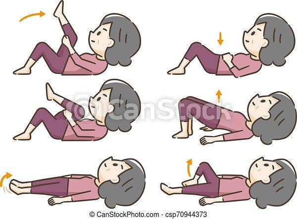 Una anciana haciendo ejercicio recostado - csp70944373