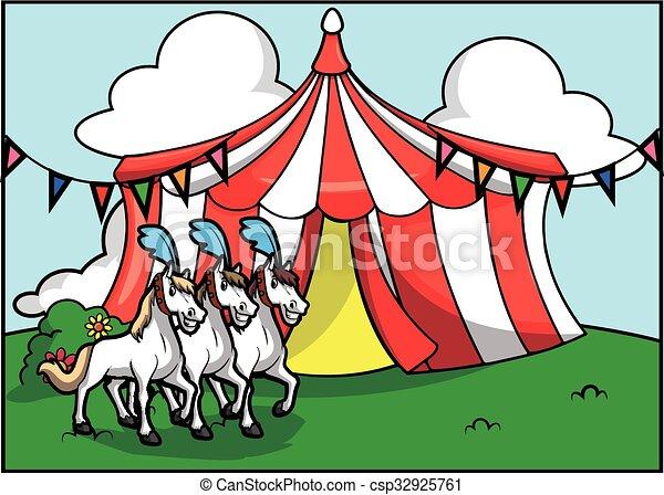 Una atracción de circo de caballos blancos - csp32925761