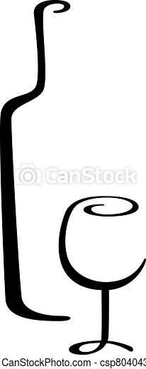 Una botella de vino caligrafía y un vaso - csp8040433