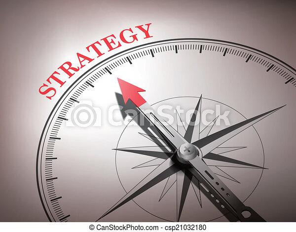 Una brújula abstracta con aguja apuntando la palabra estrategia - csp21032180