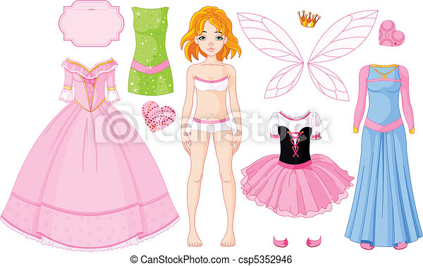 Una chica con diferentes vestidos de princesa - csp5352946