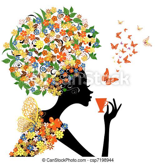 Una chica con flores con una taza caliente - csp7198944
