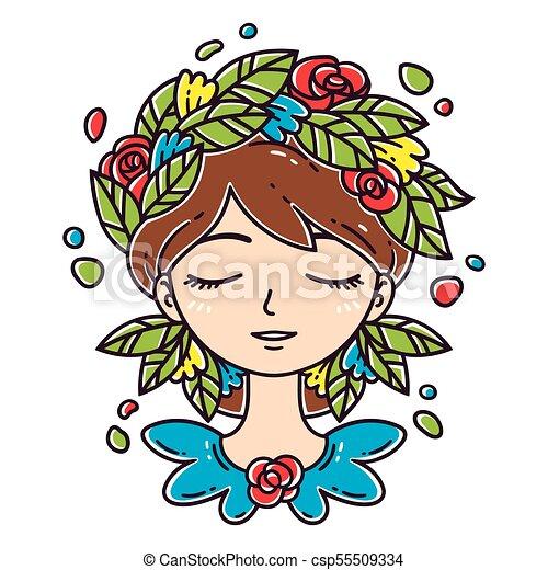 Una chica con flores en el pelo. - csp55509334
