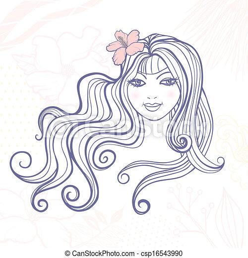 Una chica con una flor - csp16543990