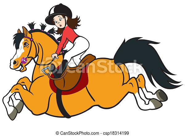 Una chica de dibujos animados montando a caballo - csp18314199