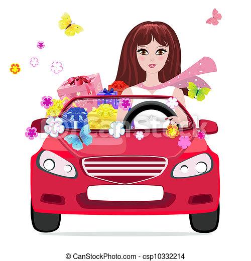 Una chica en un auto con regalos - csp10332214