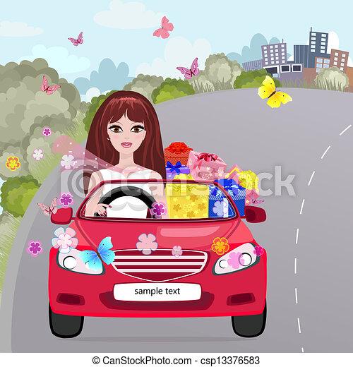 Una chica en un convertible rojo con regalos - csp13376583