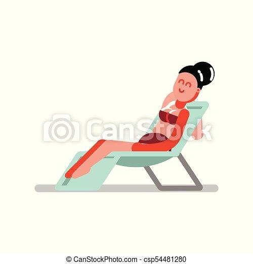 Una chica relajándose en la garganta - csp54481280