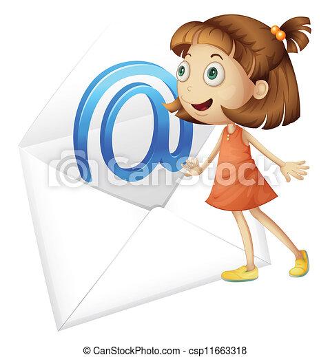 Una chica y un correo - csp11663318