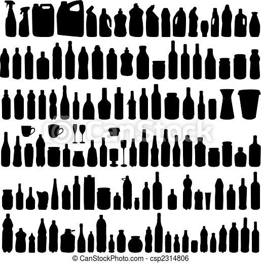 Una colección de siluetas de botellas - csp2314806