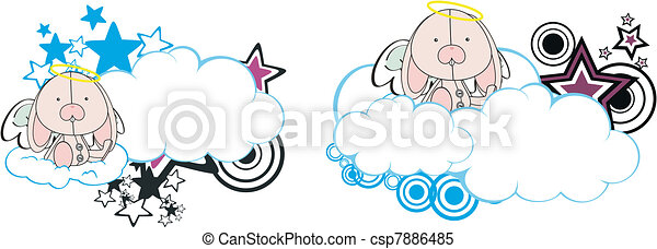 Una copia del dibujo animado de Bunny Angel - csp7886485