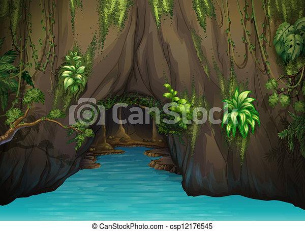 Una cueva y agua - csp12176545
