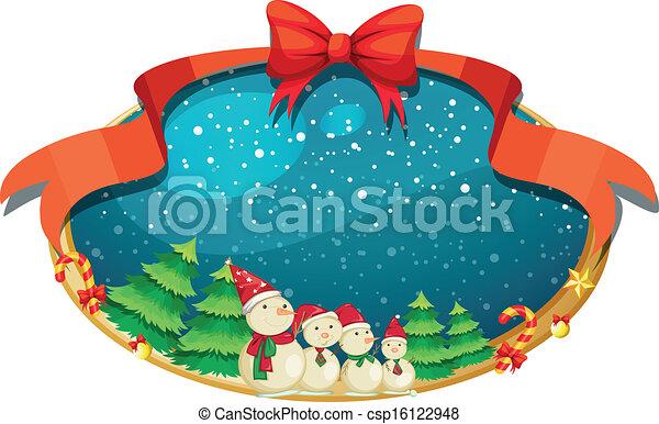 Una decoración de Navidad con cuatro muñecos de nieve - csp16122948