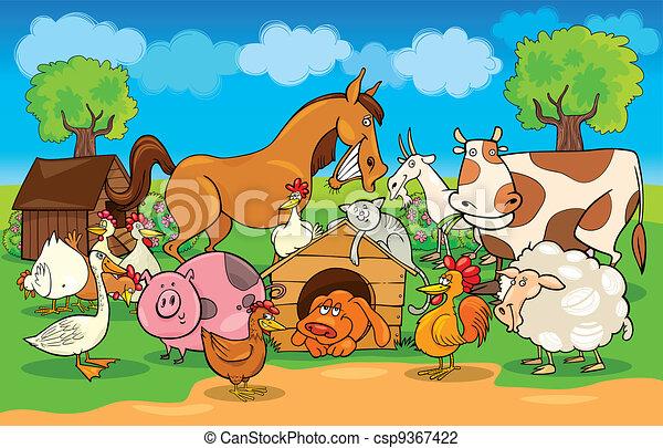 Una escena rural con animales de granja - csp9367422