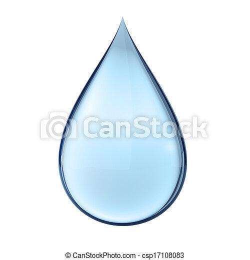 Una gota de agua 3D en blanco - csp17108083