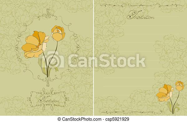 Una invitación floral verde en vector - csp5921929