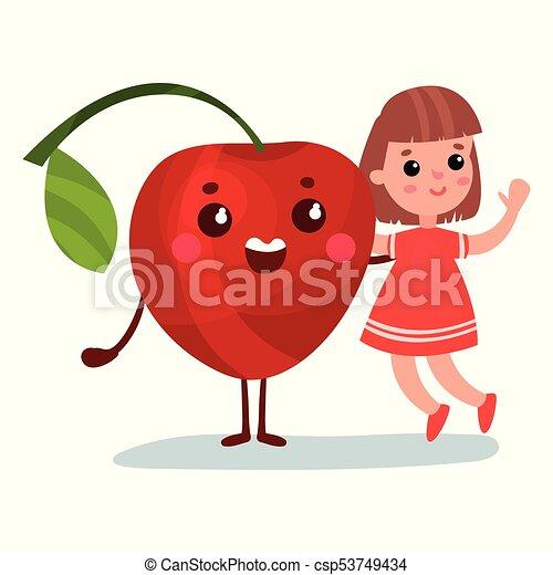Una linda niñita divirtiéndose con un personaje de cereza gigante sonriente, mejores amigas, comida saludable para niños vectores de dibujos animados - csp53749434