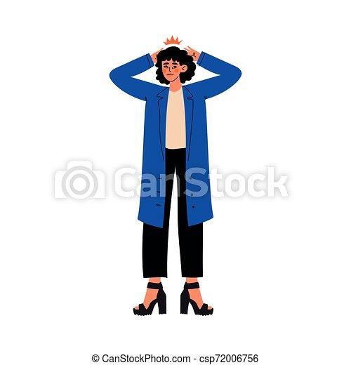 Una mujer joven sosteniendo sus manos sobre su cabeza, migraña, dolor de cabeza, niña sintiendo dolor en su cuerpo causado por enfermedad o ilustración vectorial de lesiones - csp72006756