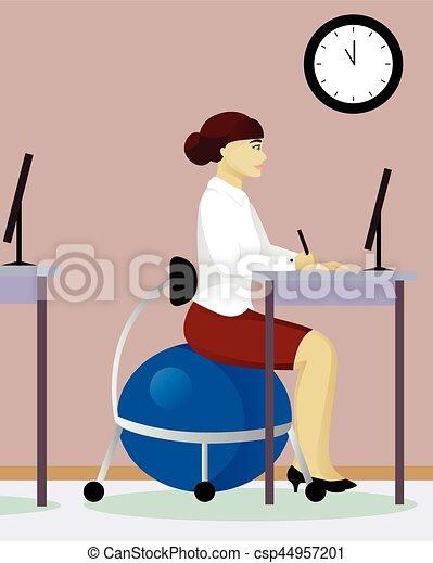 Una mujer se sienta en Fitball en la oficina - csp44957201