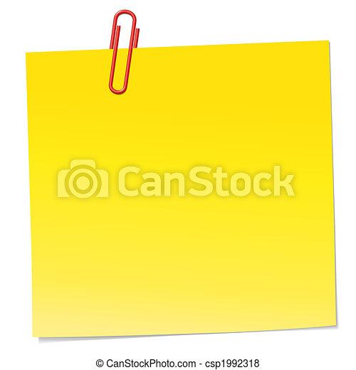Una nota amarilla con clip rojo - csp1992318