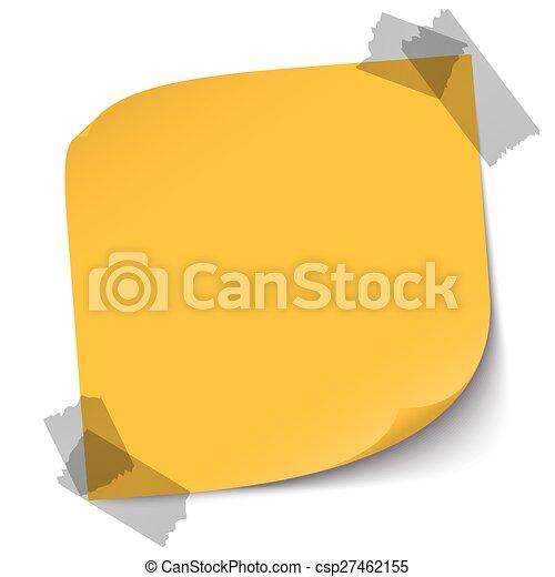 Una nota de color con cinta adhesiva - csp27462155