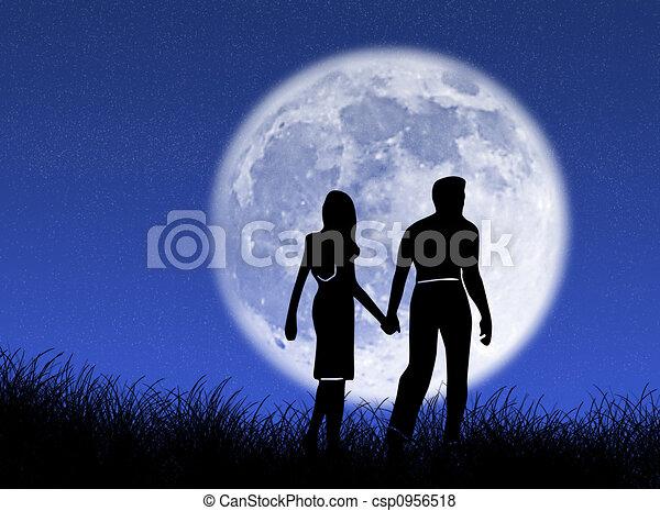 Una pareja en la luna - csp0956518