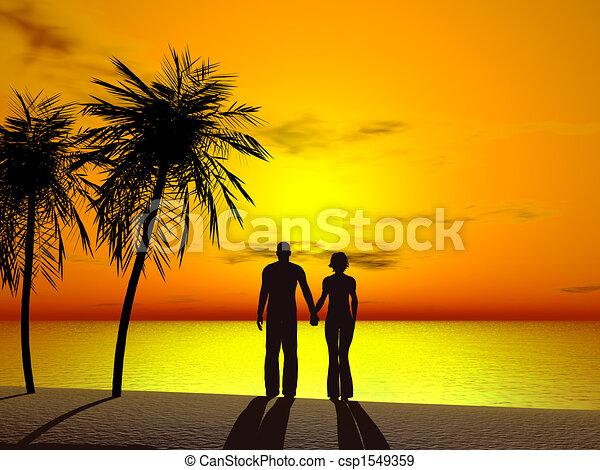Una pareja sosteniendo las manos al amanecer. - csp1549359