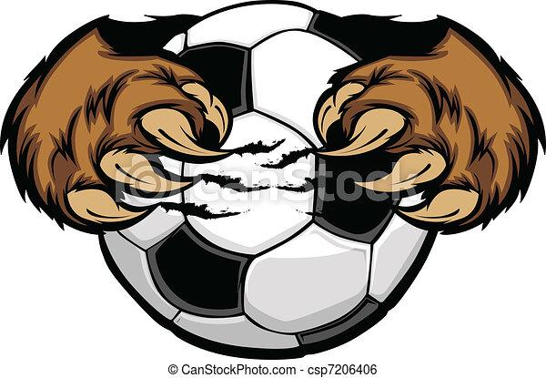 Una pelota de fútbol con un vector de garras de oso - csp7206406