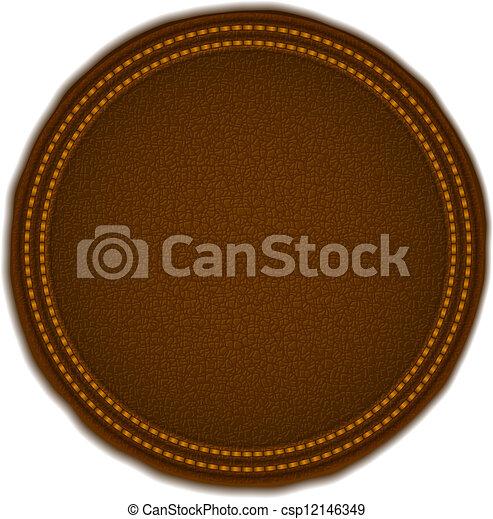 Una placa de cuero redonda - csp12146349