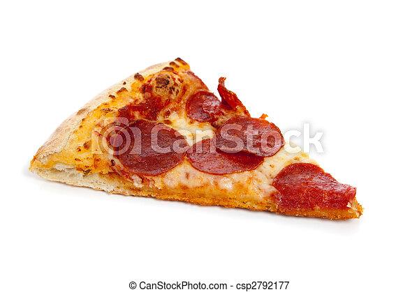 Una porción de pizza de pepperoni en blanco - csp2792177