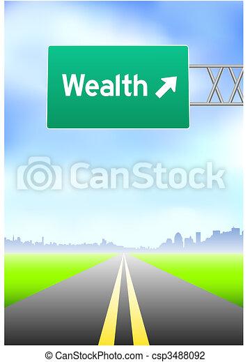 Una señal de la calle Wealth - csp3488092