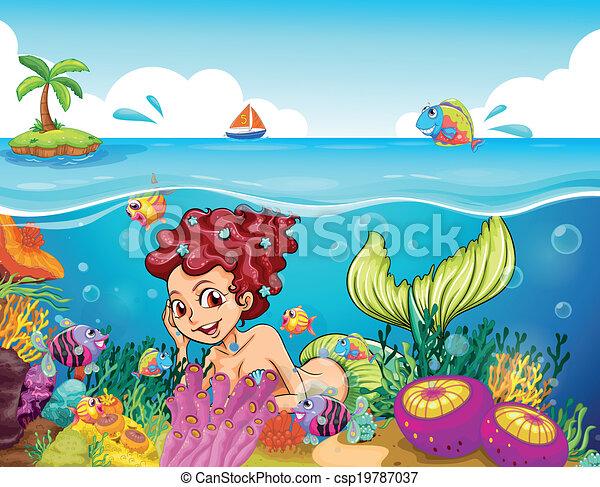 Una sirena sonriente bajo el mar - csp19787037