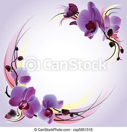 Una tarjeta de felicitación con orquídeas violetas - csp5951516