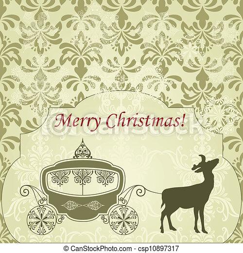 Una tarjeta de Navidad Vector con ciervos y un carruaje de época - csp10897317