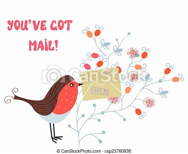 Una tarjeta graciosa con ave y correo en patrones de flores - csp23760938