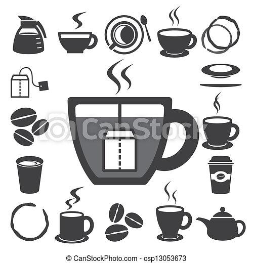 Una taza de café y una taza de té. Ilustración - csp13053673