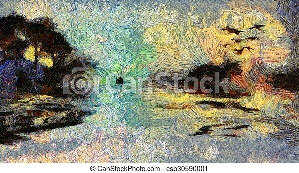 Una viva pintura con remolinos de islas al atardecer o al amanecer - csp30590001