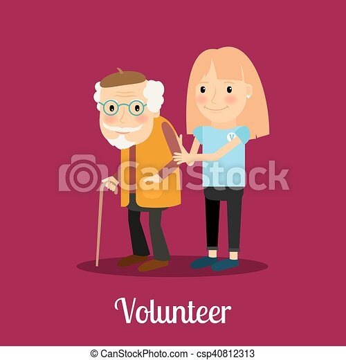 Una voluntaria cuidando a un anciano - csp40812313