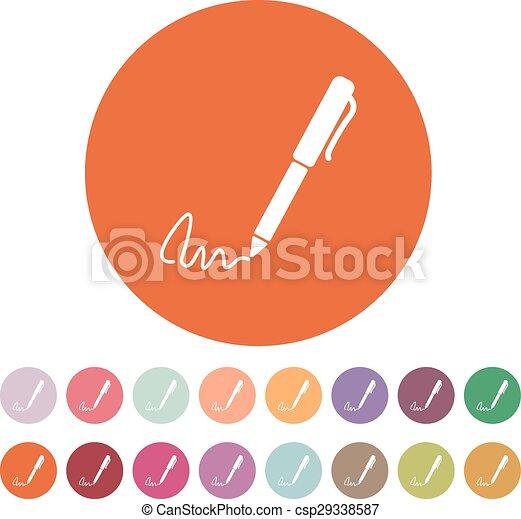 El icono de la firma. Pen y subordinado, sub-escritura, símbolo ratificado. Plano - csp29338587