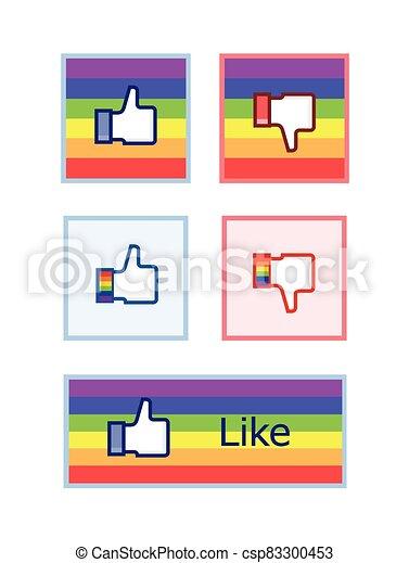 unlike, alegre, curtir, facebook, como - csp83300453