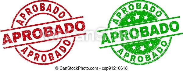 utilizar, textura, insignias, grunged, aprobado, redondo - csp91210618