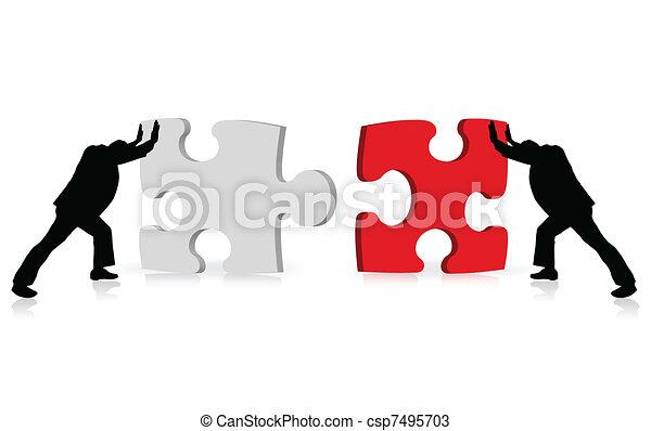 El concepto de los negocios de éxito ilustrado a través del rompecabezas - csp7495703
