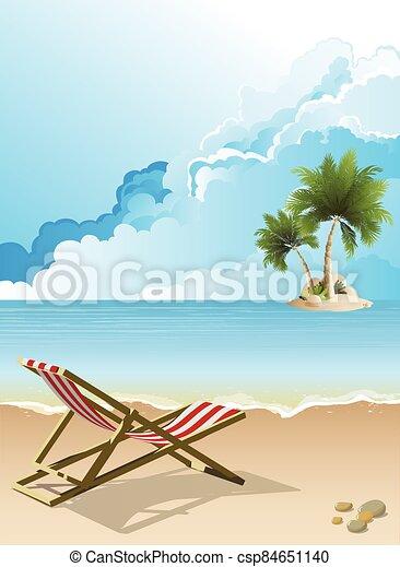 vacío, deckchair, playa - csp84651140