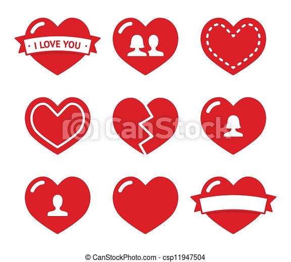 Los iconos de los corazones de amor listos para Valentine - csp11947504