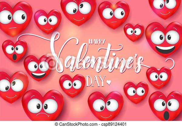 valentines, collection., valentino, 3d, rosa, amor, tarjeta, vector., -, fondo., día, letras, divertido, feliz, manuscrito, quote., corazón, emoji - csp89124401