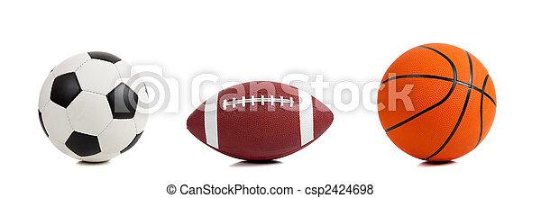 Varias bolas deportivas en blanco - csp2424698