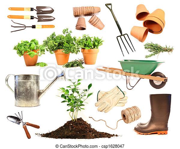 Variedad de objetos para plantar en blanco - csp1628047